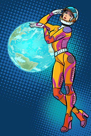 earth day. sexy beautiful woman astronaut. Pop art retro vector illustration kitsch vintage Illustration
