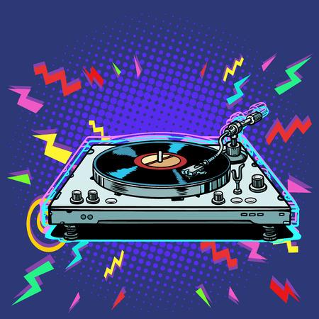 vinyl record player eighties style. Pop art retro vector illustration vintage kitsch Ilustrace