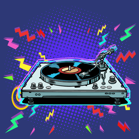 vinyl record player eighties style. Pop art retro vector illustration vintage kitsch Çizim