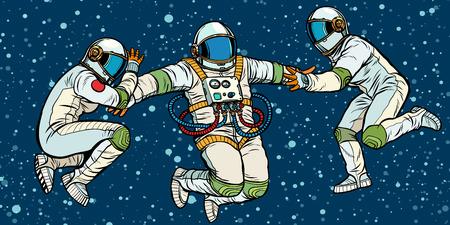 tres astronautas en el espacio en gravedad cero. Ilustración de vector retro pop art kitsch vintage
