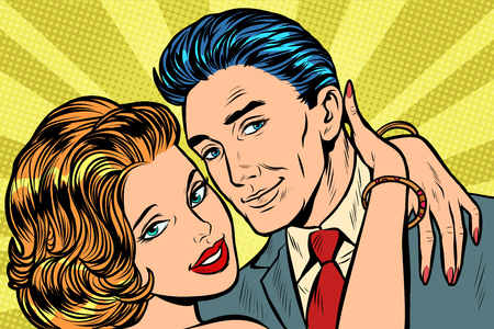 couple in love hug. Pop art retro vector illustration vintage kitsch