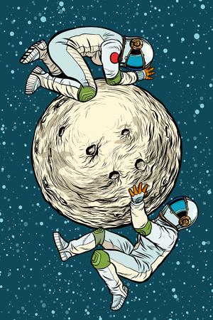 astronauts on the moon, space exploration. Pop art retro vector illustration kitsch vintage Illustration