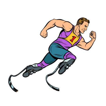 disabled runner with leg prostheses running forward. sports competition. Pop art retro vector illustration vintage kitsch