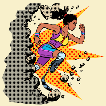 breaks the wall disabled African woman runner with leg prostheses running forward. sports competition. Pop art retro vector illustration vintage kitsch