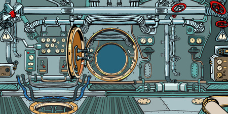compartment of the spacecraft or submarine. Pop art retro vector illustration vintage kitsch Illusztráció