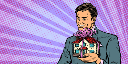 Businessman selling real estate, house as a gift. Pop art retro vector illustration drawing kitsch vintage