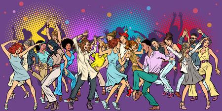 Festa al club, balli giovani. Pop art retrò illustrazione vettoriale vintage kitsch Vettoriali