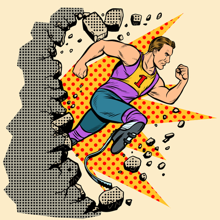 breaks the wall disabled runner with leg prostheses running forward. sports competition. Pop art retro vector illustration vintage kitsch