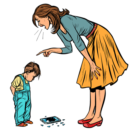 madre e figlio colpevole. telefono rotto isolare su sfondo bianco. Pop art retrò illustrazione vettoriale vintage kitsch Vettoriali