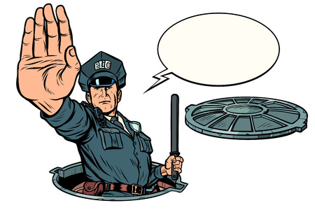 Polizei stoppt Geste, gefährlicher Schacht. Straßenarbeiten isolieren auf weißem Hintergrund. Pop-Art Retro-Vektor-Illustration Zeichnung Kitsch Vintage