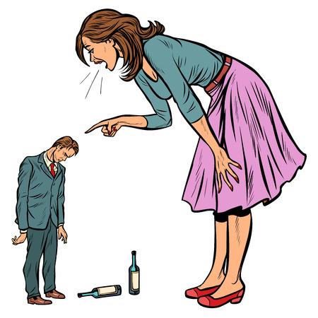 femme grondant mari ivre. alcoolisme. Pop art rétro vector illustration kitsch vintage Vecteurs