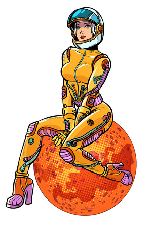 red planet Mars beautiful woman astronaut isolate on white background. Pop art retro vector illustration kitsch vintage