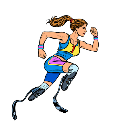 disabled runner woman with leg prostheses running forward. sports competition. Pop art retro vector illustration vintage kitsch Illustration