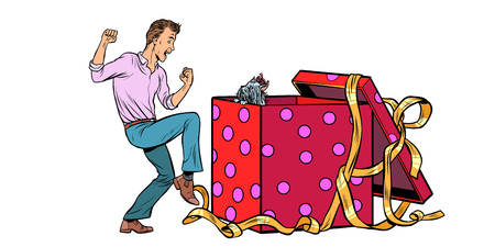 Man and dog puppy as a gift holiday box, funny reaction joy. isolate on white background Pop art retro vector illustration vintage kitsch 50s 60s