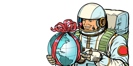 Earth day concept. Astronaut with a gift. Isolate on white background. Pop art retro vector illustration drawing kitsch vintage Illustration