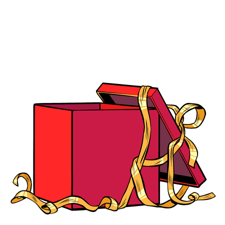 red gift box. Pop art retro vector illustration kitsch vintage