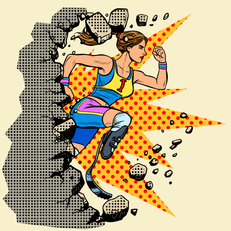 breaks the wall disabled woman runner with leg prostheses running forward. sports competition. Pop art retro vector illustration vintage kitsch Illustration