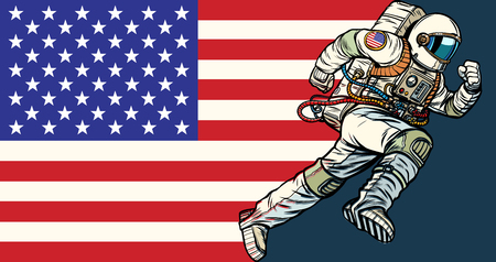 American astronaut patriot runs forward. USA flag. Pop art retro vector illustration vintage kitsch