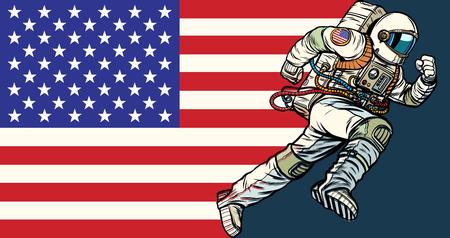 El patriota astronauta estadounidense corre hacia adelante. Bandera de EE.UU. Pop art retro vector ilustración vintage kitsch