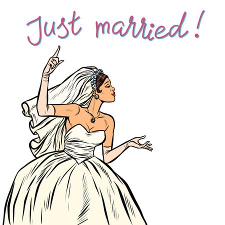 bride just married Pop art retro vector illustration vintage kitsch 50s 60s