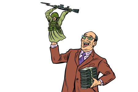 War propaganda. Soldier attacks. Politician with money. Pop art retro vector illustration kitsch vintage Banque d'images - 119597873