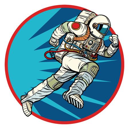 astronaut runs forward round symbol icon. Pop art retro vector illustration vintage kitsch