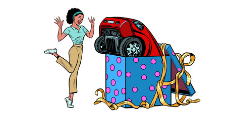 car holiday gift box. African woman funny reaction joy. isolate on white background. Pop art retro vector illustration vintage kitsch 50s 60s