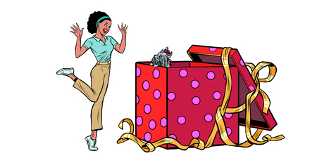dog puppy holiday gift box. African woman funny reaction joy. isolate on white background Pop art retro vector illustration vintage kitsch 50s 60s