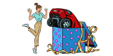 woman surprise car gift. isolate on white background. Pop art retro vector illustration kitsch vintage