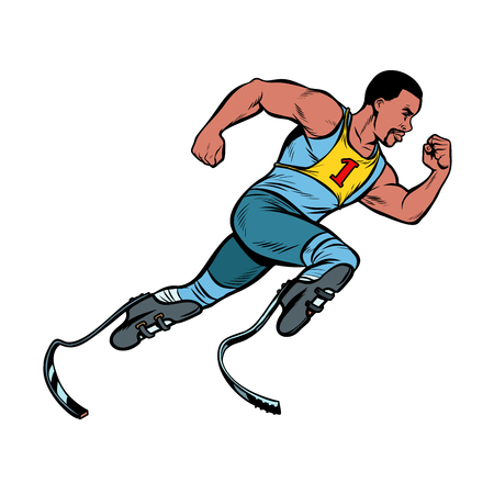 disabled African runner with leg prostheses running forward. sports competition. Pop art retro vector illustration vintage kitsch Illustration