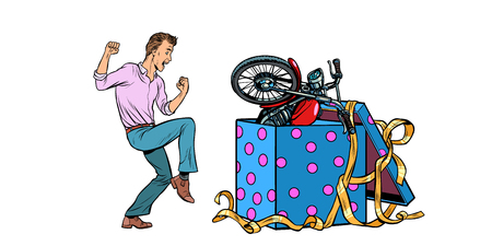 Man and motorcycle holiday gift box, funny reaction joy. isolate on white background. Pop art retro vector illustration vintage kitsch 50s 60s