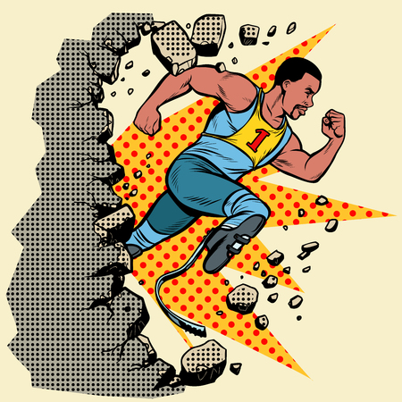 breaks the wall. disabled African runner with leg prostheses running forward. sports competition. Pop art retro vector illustration vintage kitsch