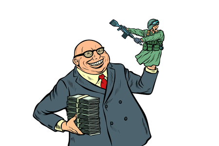 War propaganda. Soldier attacks. Politician with money. Pop art retro vector illustration kitsch vintage Banque d'images - 119598018