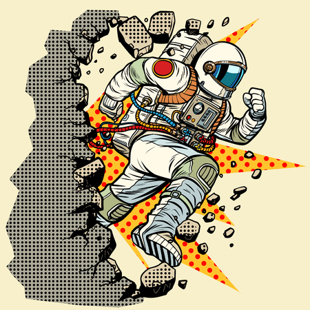astronaut breaks the wall. Pop art retro vector illustration vintage kitsch Illustration