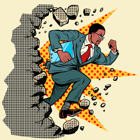 african Leader gadget novation breaks a wall, destroys stereotypes. Moving forward, personal development. Pop art retro vector illustration vintage kitsch Stock Illustratie