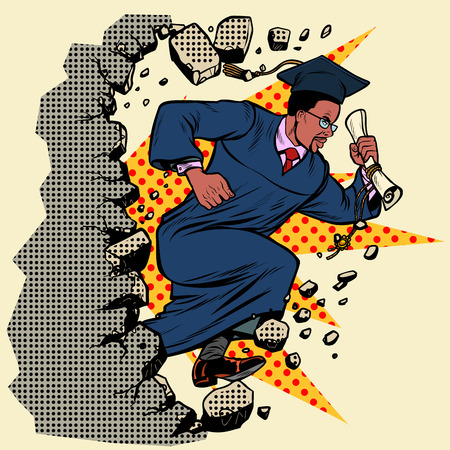 african graduate University College breaks a wall, destroys stereotypes. Moving forward, personal development. Pop art retro vector illustration vintage kitsch Ilustração