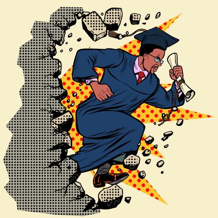 University College, graduado africano, rompe un muro, destruye estereotipos. Avanzando, desarrollo personal. Pop art retro vector ilustración vintage kitsch Ilustración de vector