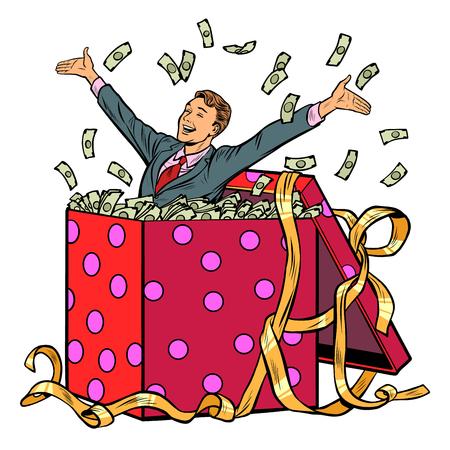gift. businessman with money. Pop art retro vector illustration kitsch vintage