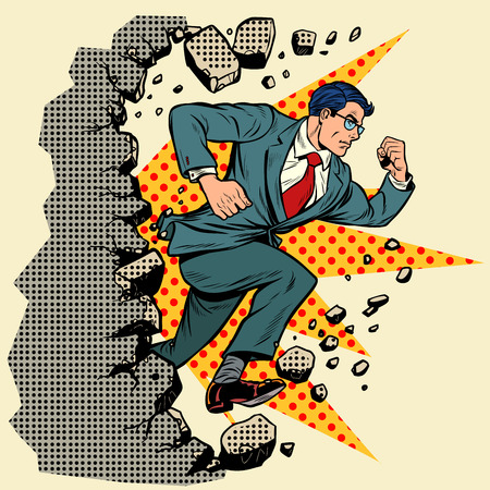 Leader businessman breaks a wall, destroys stereotypes. Moving forward, personal development. Pop art retro vector illustration vintage kitsch