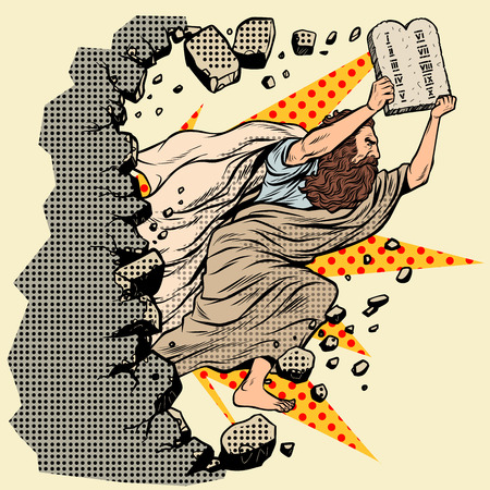 Moisés con las tablas de los 10 mandamientos del Pacto rompe un muro, destruye los estereotipos. Religión cristiana y judía. Carácter de profeta del Antiguo Testamento. Pop art retro vector ilustración vintage kitsch