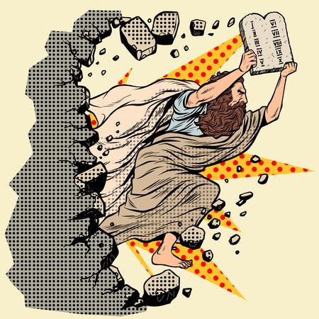 Mosè con le tavole dei 10 comandamenti dell'Alleanza rompe un muro, distrugge gli stereotipi. religione cristiana ed ebraica. Carattere del profeta dell'Antico Testamento. Pop art retrò illustrazione vettoriale vintage kitsch