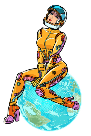 earth day. sexy beautiful woman astronaut. isolate on white background Pop art retro vector illustration kitsch vintage Illustration