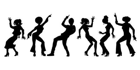 zestaw kolekcja sylwetki. młodzi ludzie tańczą. mężczyźni kobiety chłopcy dziewczęta. Pop-art retro wektor ilustracja kicz vintage