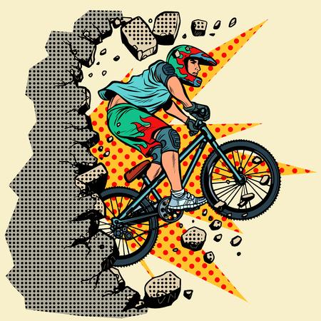cyclist extreme sports wall breaks. Moving forward, personal development. Pop art retro vector illustration vintage kitsch