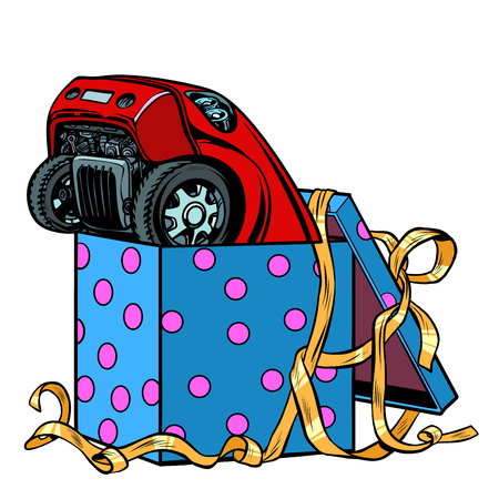 car in a gift box. Pop art retro vector illustration kitsch vintage  イラスト・ベクター素材