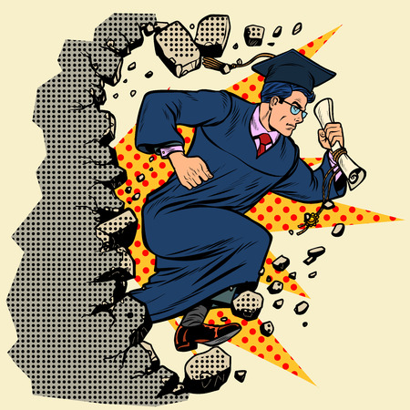 graduate University College breaks a wall, destroys stereotypes. Moving forward, personal development. Pop art retro vector illustration vintage kitsch
