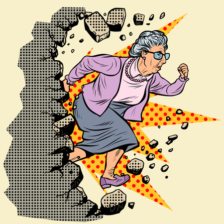 active old Granny pensioner breaks the wall of stereotypes. Moving forward, personal development. Pop art retro vector illustration vintage kitsch