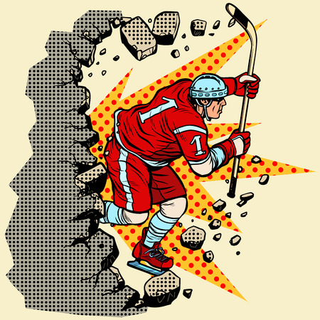 hockey player breaks a wall, winter sport. Moving forward, personal development. Pop art retro vector illustration vintage kitsch