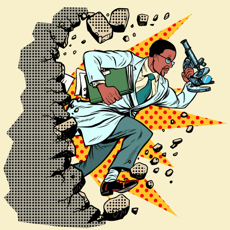 african scientist with microscope breaks a wall, destroys stereotypes. Moving forward, personal development. Pop art retro vector illustration vintage kitsch