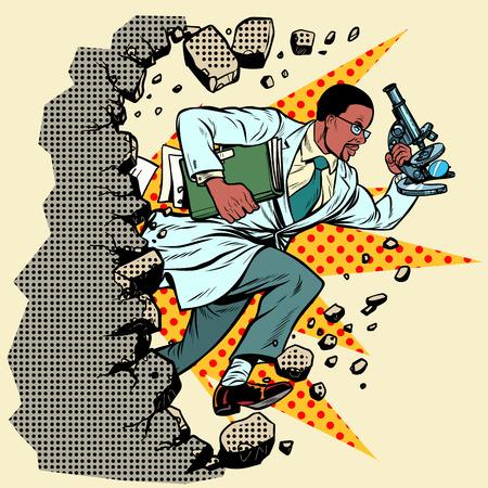 Científico africano con microscopio rompe una pared, destruye estereotipos. Avanzando, desarrollo personal. Pop art retro vector ilustración vintage kitsch